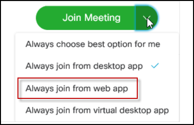 Screenshot demonstrating how to join Webex meetings using the web app rather than the desktop app