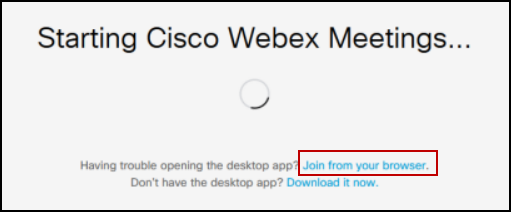 Screenshot demonstrating how to join a Webex meeting from your browser