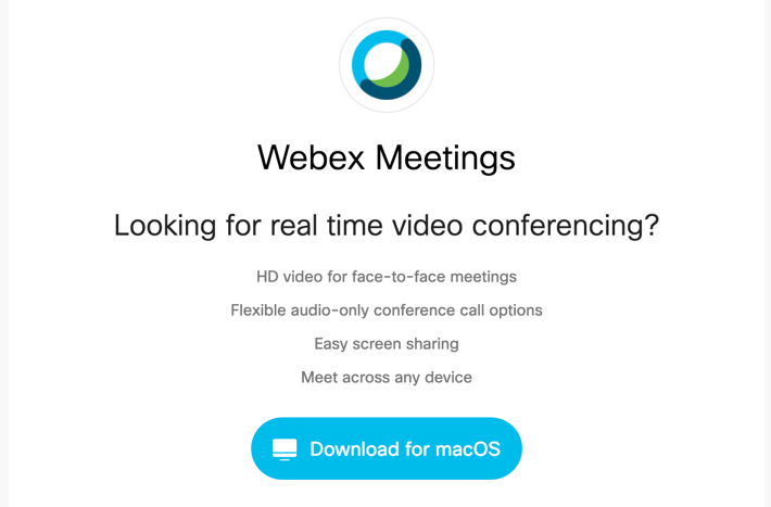 Screenshot of the link to download Webex on Mac