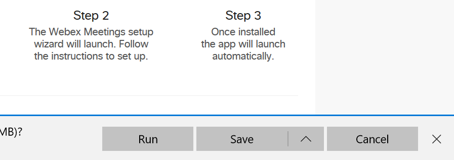 Screenshot of the Webex installer download process in Microsoft Edge