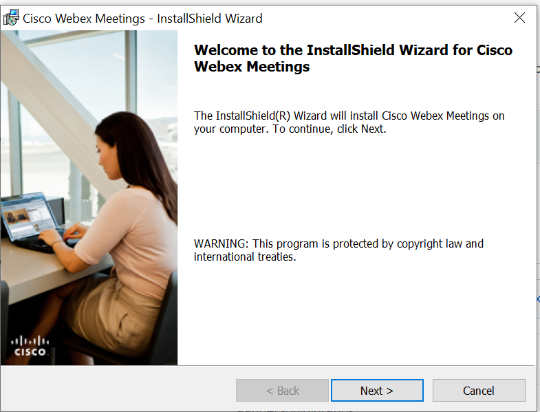 Screenshot of the Webex installer for Windows