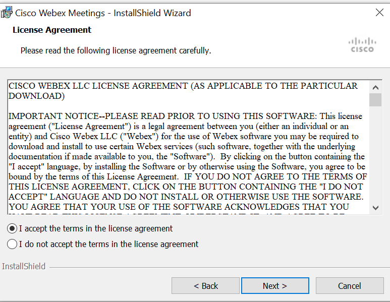 Screenshot of the Webex installer license terms window