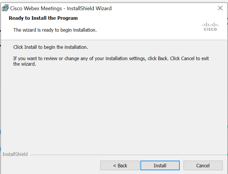 Screenshot of the installation screen in the Webex installer
