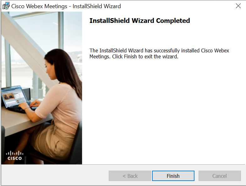 Screenshot of the final screen in the Webex installer
