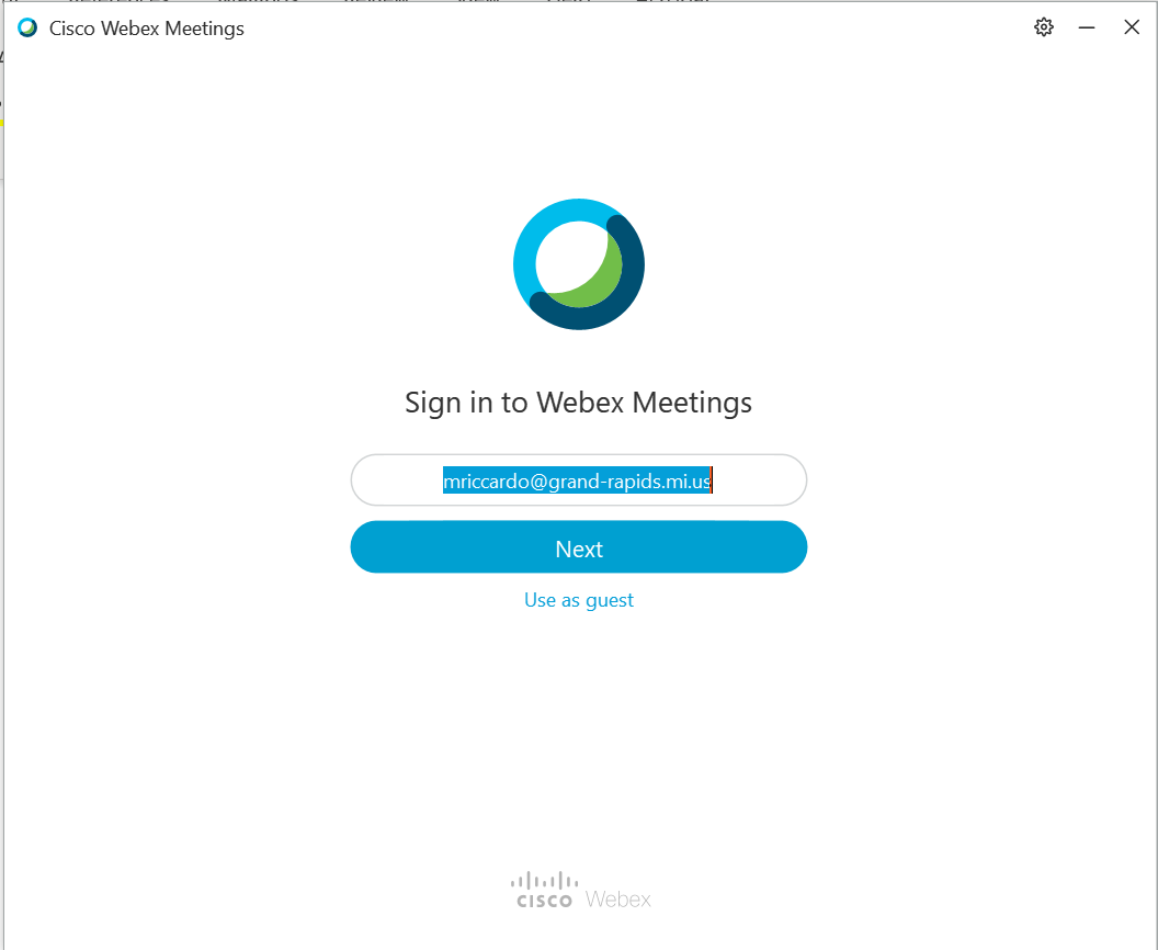 Screenshot of the sign in screen for Webex Meetings