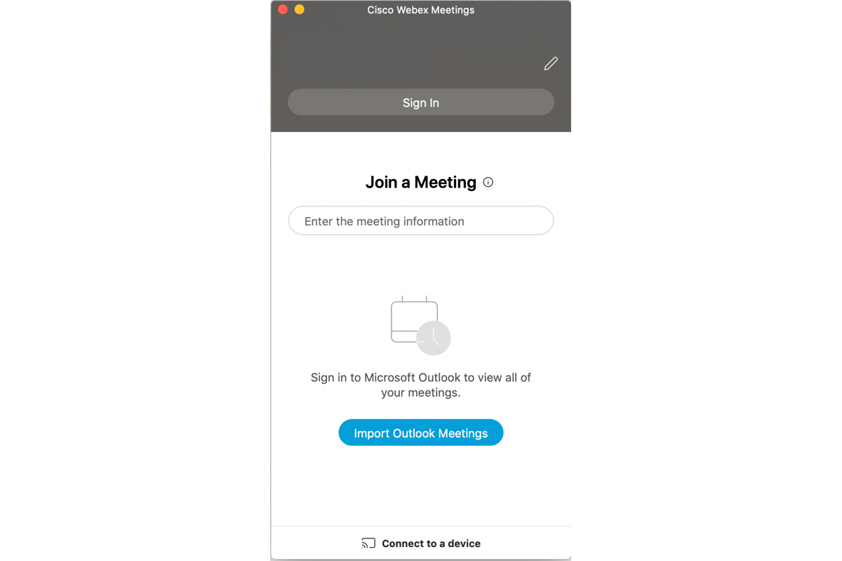 Screenshot of the Webex Meetings Join a Meeting screen