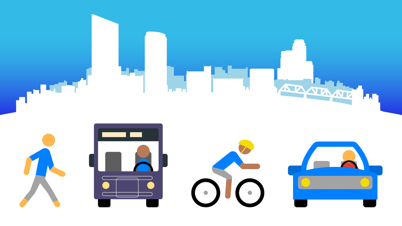 Graphic of Grand Rapids Skyline with a person walking, biking, driving a car, and on a bus