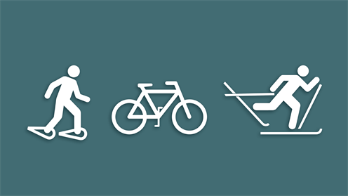 PNG image of a snowshoer, bike, and skier icon