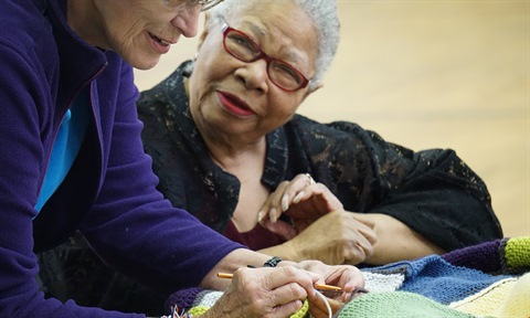 JPEG image of a woman at Knitting Club