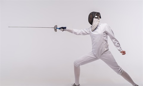JPEG image of a young person in fencing gear