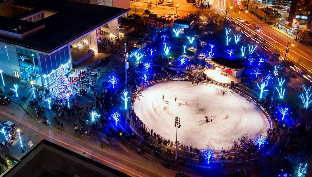 Aerial photo of Rosa Parks Circle ice rink in winter