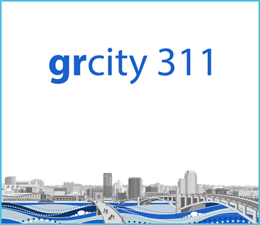 grcity 311 mobile app front page image with light blue border