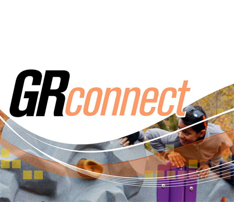 JPEG image of the GR Connect newsletter logo showing children playing at a playground