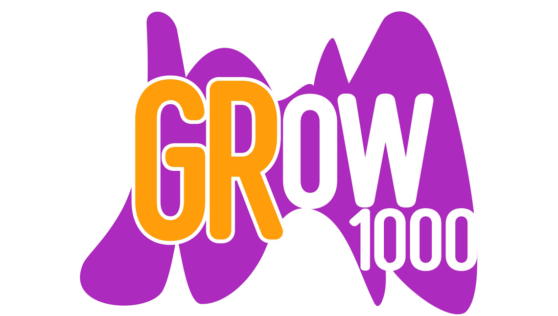 PNG image of GRow 1000 logo, purple Calder with orange and white text displaying initiative name