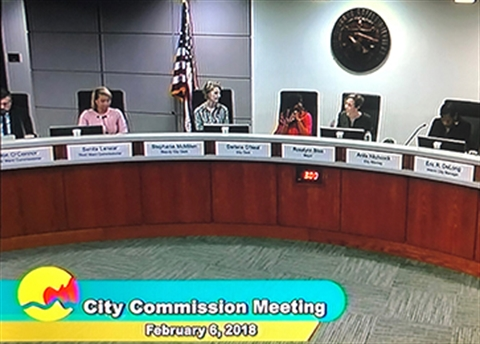 Photograph of the City Commission dias on Feb. 6, 2018