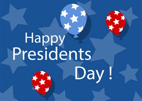 Presidents Day banner with stars and balloons
