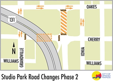 .jpg image of the Studio Park Road Closure Phase II Map