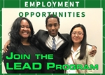.jpg image of a LEAD program ad featuring three young adults who have participated in the program