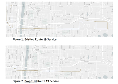 Maps of the new and proposed routes of The Rapid Michigan Street Route 19