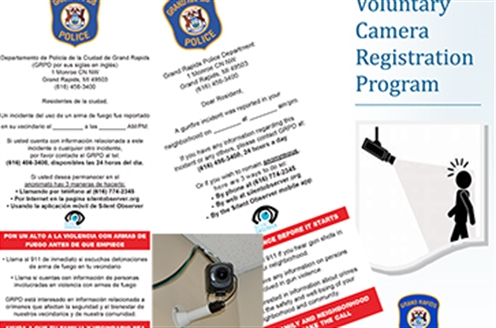 Photos of Gun Violence Banners and Voluntary Camera Registration Program Flyer