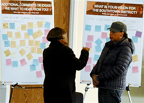 Two Southtown residents participating in a district planning session