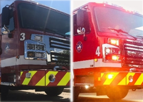 Single combined photo of GRFD's two new fire engines