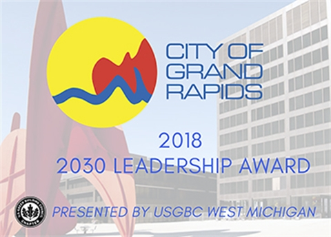 2030 Leadership Award graphic with a photo of Calder Plaza