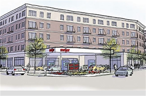 A rendering of a proposed Meijer gas station at 438 Stocking Ave. NW