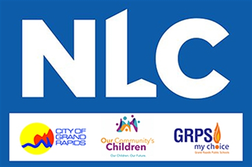 Image featuring the logos of the National League of Cities, the City of Grand Rapids, Our Community's Children and the Grand Rapids Public Schools