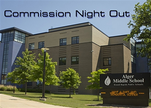 Photograph of Alger Middle School, site of the Sept. 24, 2019 Commission Night Out meeting