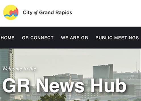 Screen image of the GR News Hub webpage