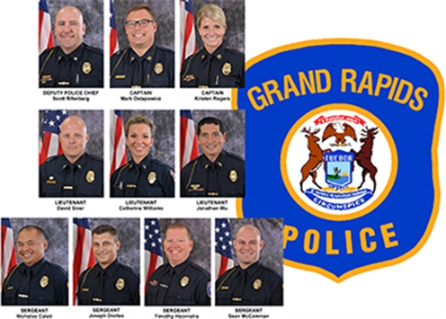 Collage of 10 photos of GRPD employees who earned promotions at a Friday, Sept. 20 promotional ceremony